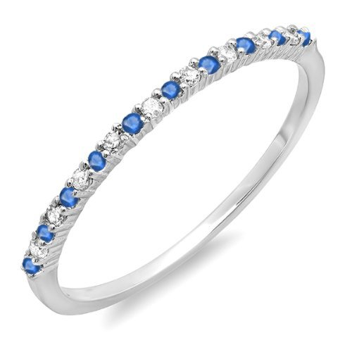 0.15 Carat (ctw) 10k White Gold Blue Sapphire & White Diamond Ladies Wedding Stackable Band (Size 6.5)