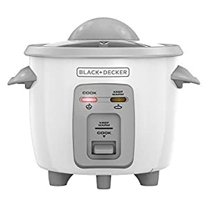 Black + Decker RC3303 3-Cup Cooked/1.5-Cup Uncooked Compact Rice Cooker White