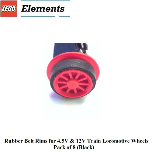 Lego Parts: Rubber Belt Rims For 4.5V & 12V Train Locomotive Wheels, Pack Of 8 (Black)