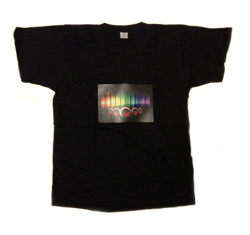 "Led Flashing Sound Activated ""Multi-Color Speakers"" Light Up Shirt (Medium)"