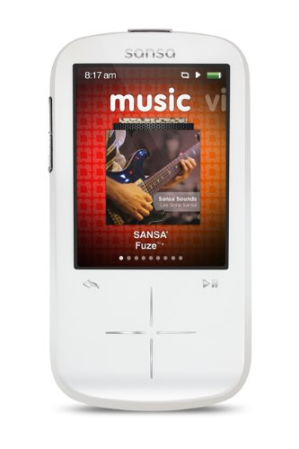 Sandisk Sansa Fuze+ 8Gb Mp3 Player, White With 2.4-Inch Lcd Display, Microsdhc Card Slot- Sdmx20-008Gw-A57