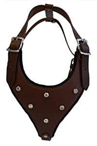"Leather Rhinestones Bling Dog Harness, Medium, Brown, 100% Genuine Argentinean Leather (Malibu) For Medium breeds. Neck: 10.5"" - 20.5"". Chest: 20""-27"""