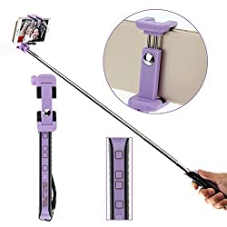 WEMELODY 2015 New Extendable Zoom Selfie Stick with Rear Mirror for Women Girl Cell Phone Handhold Bluetooth Monopod Sticks with Groove Prevent Shake for Gopro Hero iOS and Android Smartphones for iPhone 5 5s 4 4s 6 6plus for