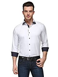 Edjoe Men White Double Collar Slim Fit Club/Party/Casual Wear Shirt, BLEDMS0098