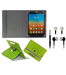 Gadget Decor (TM) PU Leather Rotating 360° Flip Case Cover With Stand For BaSlate 7QI + Free Handsfree (Without Mic) - Green