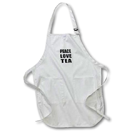 Apr_184914_2 Inspirationzstore Happiness Is - Peace Love And Tea - Things That Make Me Happy - Fun Foodie Gift - Aprons - Medium Length Apron With Pouch Pockets 22W X 24L