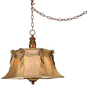 Hand Painted Floral Plug-in Style Swag Pendant Light