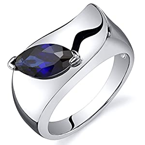 Created Sapphire Ring Sterling Silver Rhodium Nickel Finish Marquise Shape 1.25 Carats Size 7 by Peora