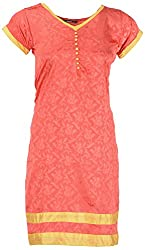 NelNik Women's Polyester Regular Fit Kurti (SKU_Nel018_Small, Orange, Small)