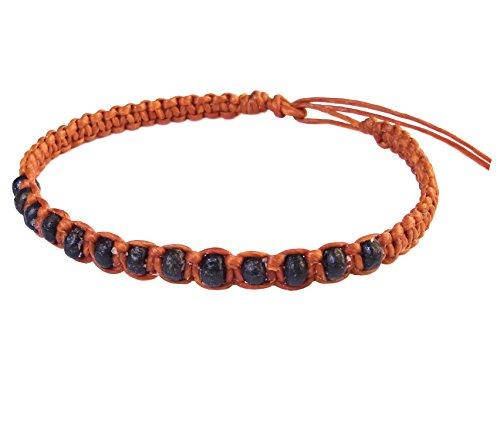 artisan-handgefertigt-unisex-modische-armband-schwarz-holz-beads-orange-wachs-schnur