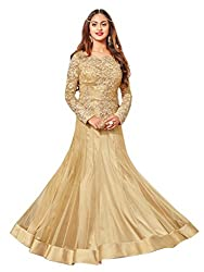 Shoppingover Bollywood Party Wear Anarkali Style Salwar Kameez in Georgette Fabric-Beige Color