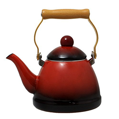 JustNile Country-Style Decorative Enameled Iron Tea Kettle With Vintage Wooden Handle - 1.2 Quarts, Deep Red