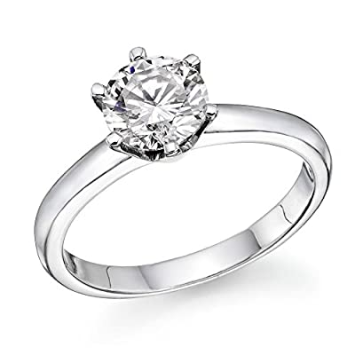 Swarovski CZ Engagement ring Round Brilliant Cut 18K White Gold
