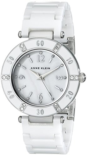 Anne Klein Women's 109417WTWT Swarovski Crystal-Accented White Ceramic