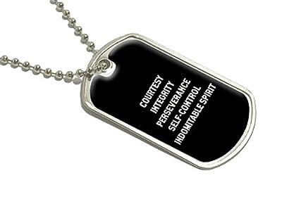 Karate Taekwondo 5 Tenets Courtesy Integrity - Military Dog Tag Luggage Keychain