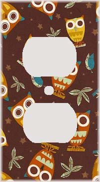 Retro Owls Decorative Outlet Cover (Owl Wall Plate Cover compare prices)