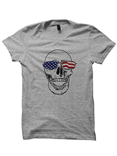 Skull With American Flag Glasses T-shirt Mens Tees Tops Plus Sizes USA