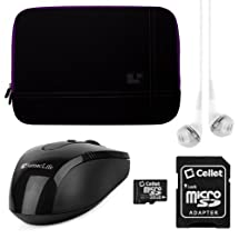 SumacLife Premium Microsuede Protective Zipper Sleeve Cover w/ Insulated Neoprene Bubble Padding (Purple) Samsung ATIV Q 13.3 inch Tablet + White VG Stereo Headphones with Mic + Black SumacLife Wireless USB Mouse and Adapter + Cellet 16GB Memory Card & SD Adapter