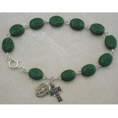 Sterling Silver Green Irish Shamrock Adult Womens Rosary Bracelet