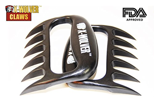 X-wolver Meat Claws- High Grade Barbeque Bear Paw Meat Handlers Set of 2 (Black)