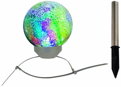 LED Solar-Kugelleuchte / 1x LED inklusive 2 Kugel-Befestigungsbändern und Erdspieß / Licht weiß / Durchmesser 15 cm / Höhe 18 cm / Material Glas, Edelstahl, bunt / mosaik 5123761