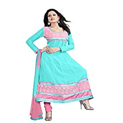 Parinaaz fashion Chhaya Georgette Turquise Unstitched Anarkali salwar suit dress material