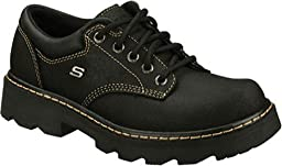 Skechers Women\'s Parties-Mate Oxford,Black Suede Leather,7 M US