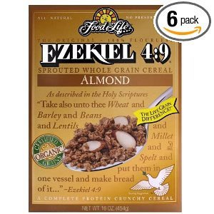 Food For Life Ezekiel 4:9 Organic Sprouted Grain Cereal, Almond, 16-Ounce Boxes (Pack of 6)