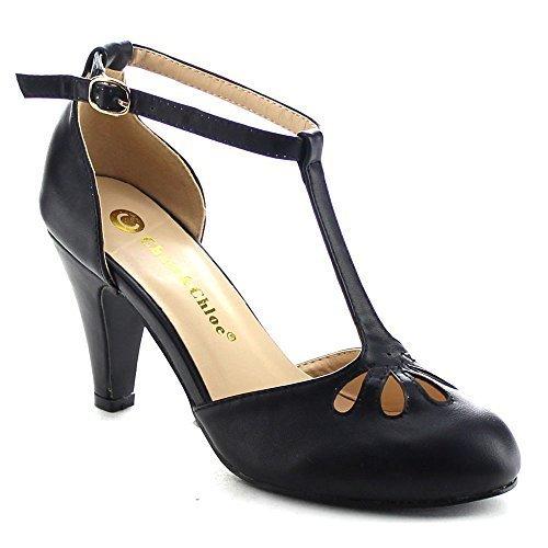 Chase & Chloe Kimmy-36 Women's Teardrop Cut Out T-Strap Mid Heel Dress Pumps,Black,10