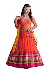 ZHot Fashion Fashion Net Unstitched Orange Designer Salwar Suit (RHFRL1001B) Orange