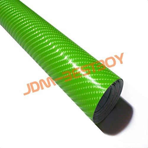 4D Green Gloss Carbon Fiber Vinyl Wrap Car Sticker Decal Bubble Free Air Release 12