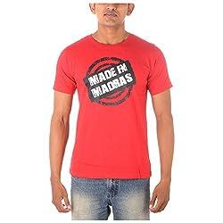 Chennai Gaga Men's Round Neck Cotton T-shirt Made In Madras 112-3-804-Red-S