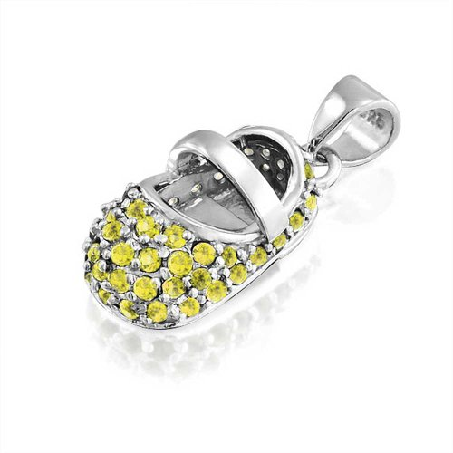 Bling Jewelry Baby Shoe Charm Silver November Birthstone Citrine Color Cz front-109766