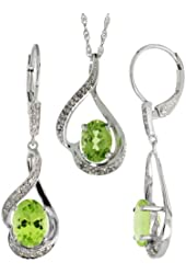 14k White Gold Dangle Earrings (19mm tall) & 18 in. Pendant-Necklace Set, w/ 0.20 Carat Brilliant Cut Diamonds & 3.64 Carats Oval Cut (7x5mm) Peridot Stones