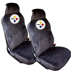 pittsburgh steelers front low back car truck suv sideless bucket seat covers pair. Black Bedroom Furniture Sets. Home Design Ideas