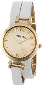 Breda Women's 1629-gold/white Jodie Leather Wrap Around Watch