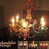 カラフル6灯シャンデリア chandelier 6lamps ブラック