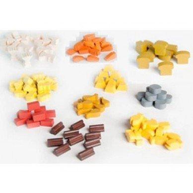 Holz-Spiefiguren: Holz, Lehm, Schilf, Stein, Getreide, Karotte, Brot, Fisch, Gold, Fleisch