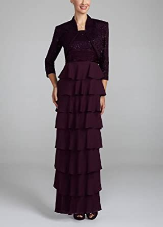 3/4 Sleeveless Long Lace Jacket Dress Eggplant, 12