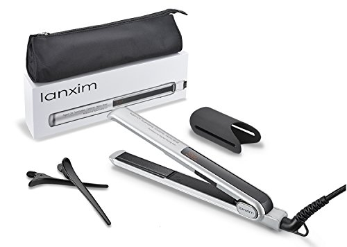 Lanxim Digital Tourmaline Ceramic Flat Iron Hair Straightener with Heat Resistant Travel Bag and Protective Plate Guard Holder, Silver (Flat Iron Holder Travel compare prices)