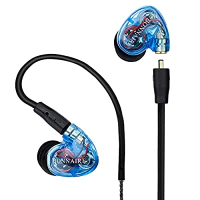GranVela MX330 Dual Dynamic Driver Ear Hook In-Ear Stereo Sport Earphones Noise-isolating Headphones with Microphone,Memory Wire,Remote, and Universal Volume Control