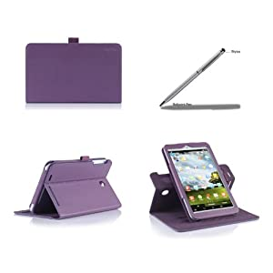ProCase 2013 ASUS MeMO Pad 8 ME180A Rotating Stand Case with bonus stylus pen - Folio Cover Case (horizontal and vertical display) for 2013 version ASUS MeMO Pad 8 ME180A Tablet, Built-in Stand (Purple) from ProCase