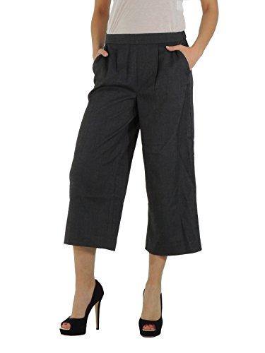 Only Loneculot pantaloni donna a palazzo con effetto spinato gamba 3/4 (40, GRIGIO)
