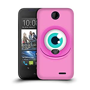 MobileGlaze Designs Pearl Teeth Monster Pink Female Hard Back Case Cover for HTC DESIRE 310