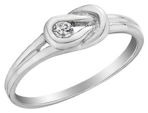 Diamond Love Knot Promise Ring in 10K White Gold, Size 7.5