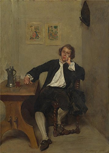 'Jean Louis Ernest Meissonier A Man In Black Smoking A Pipe ' Oil Painting, 18 X 25 Inch / 46 X 64 Cm ,printed On High Quality Polyster Canvas ,this High Quality Art Decorative Prints On Canvas Is Perfectly Suitalbe For Game Room Decoration And Home Decoration And Gifts