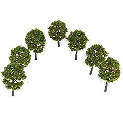 Generic Plastic Model Trees Train Railroad Scenery 1:250 40pcs Deep Green