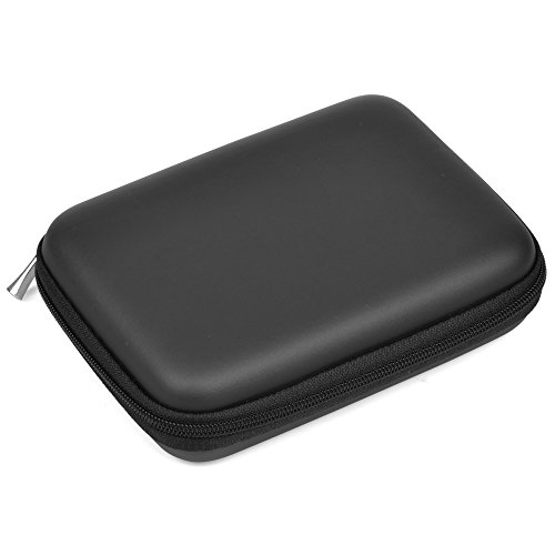 Case Star ® PU Leather Hard Shell Case Bag for 2.5-Inch Portable Hard Drive with mesh pocket inside (Black)