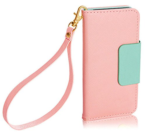 Mylife (Tm) Light Pink And Mint Green - Modern Design - Textured Koskin Faux Leather (Card And Id Holder + Magnetic Detachable Closing) Slim Wallet For Iphone 5/5S (5G) 5Th Generation Itouch Smartphone By Apple (External Rugged Synthetic Leather With Magn