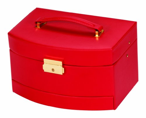 Mele & Co Red Bonded Leather Auto Drawer Jewellery Case